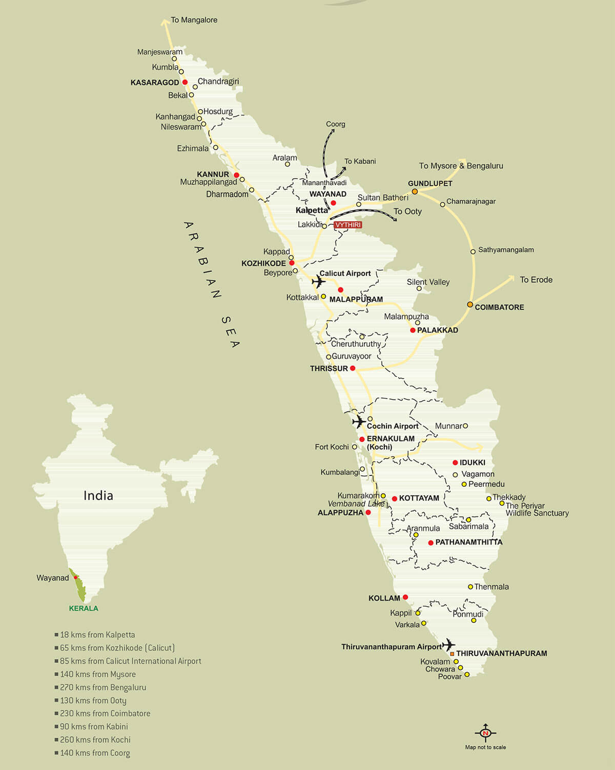 Vythiri Resort - Location Map